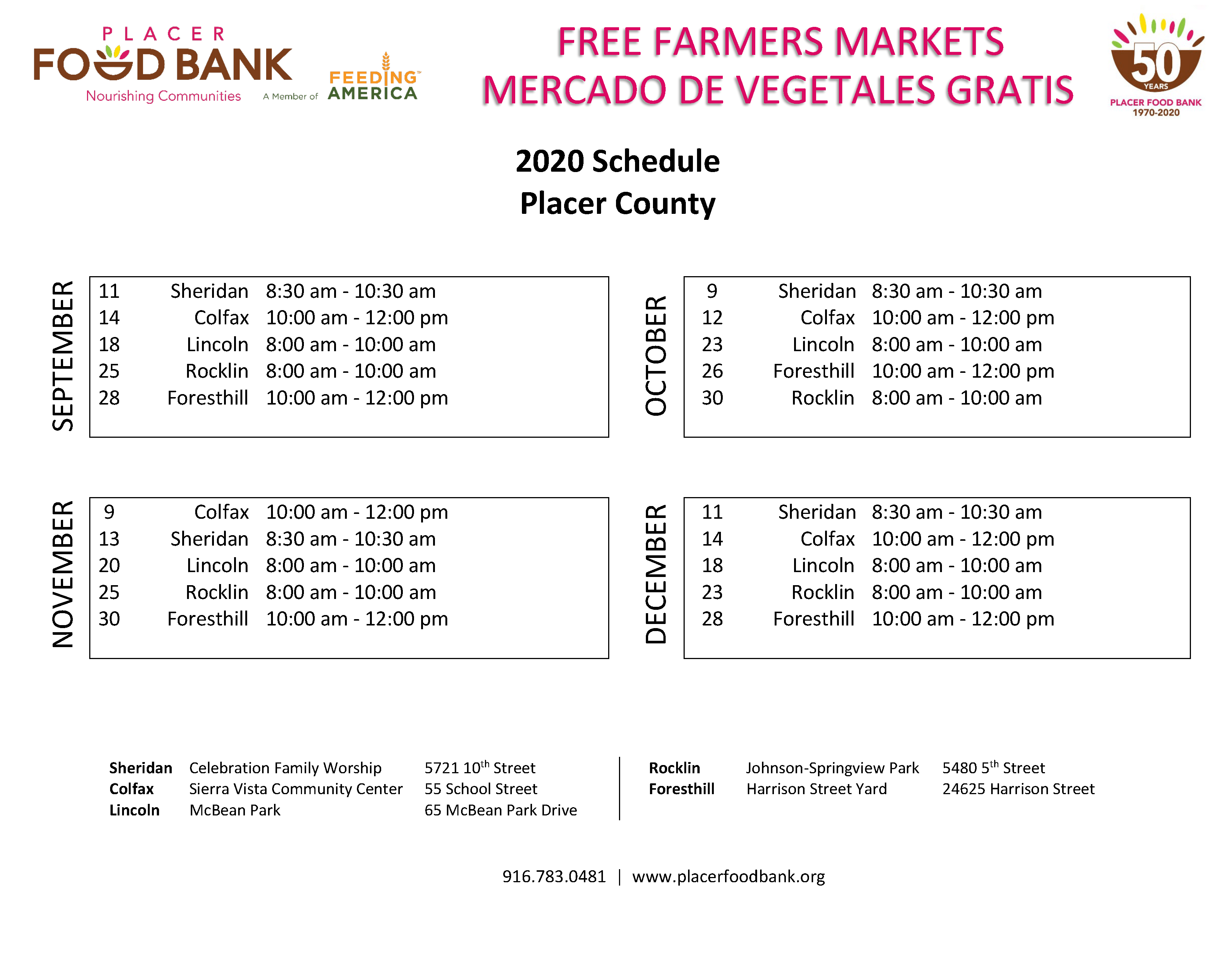 FFM Schedule - Placer County 2020